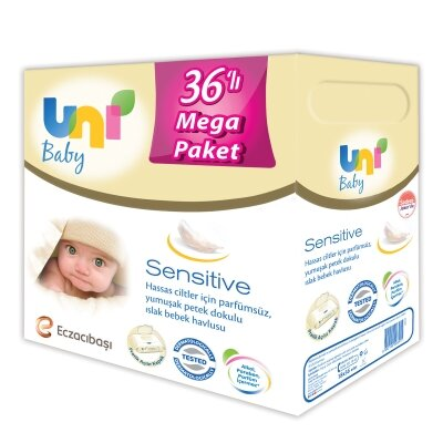 Uni Baby Sensitive Islak Mendil 36'lı 2016 Yaprak Mega Avantaj Seti