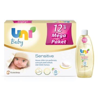 Uni Baby Avantajlı Sensitive Islak Mendil 12'li 672 Yaprak+ Şampuan Seti
