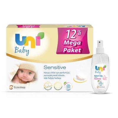 Uni Baby Avantajlı Sensitive Islak Mendil 12'li 672 Yaprak+ Pudra Kokulu Yağ Seti