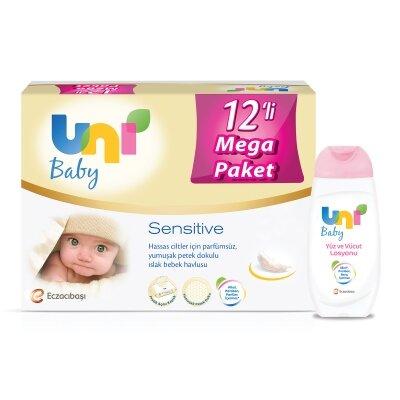Uni Baby Avantajlı Sensitive Islak Mendil 12'li 672 Yaprak+ Losyon Seti