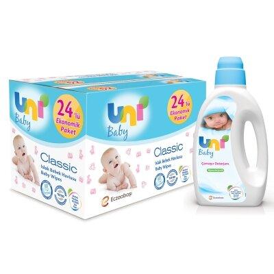 Uni Baby Avantajlı Classic Islak Havlu 24'lü + Klasik Deterjan Seti