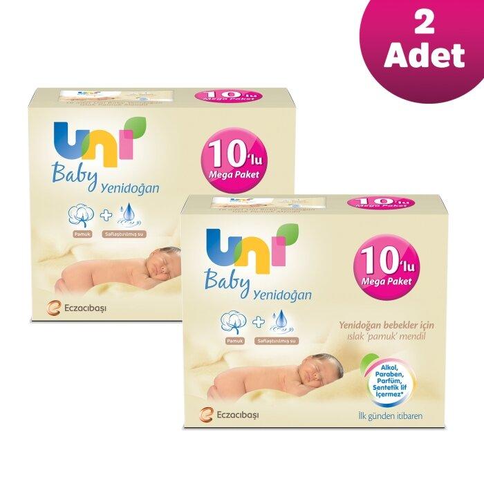 Uni Baby 20'li Yenidoğan Islak Mendil Avantaj Seti 800 Yaprak