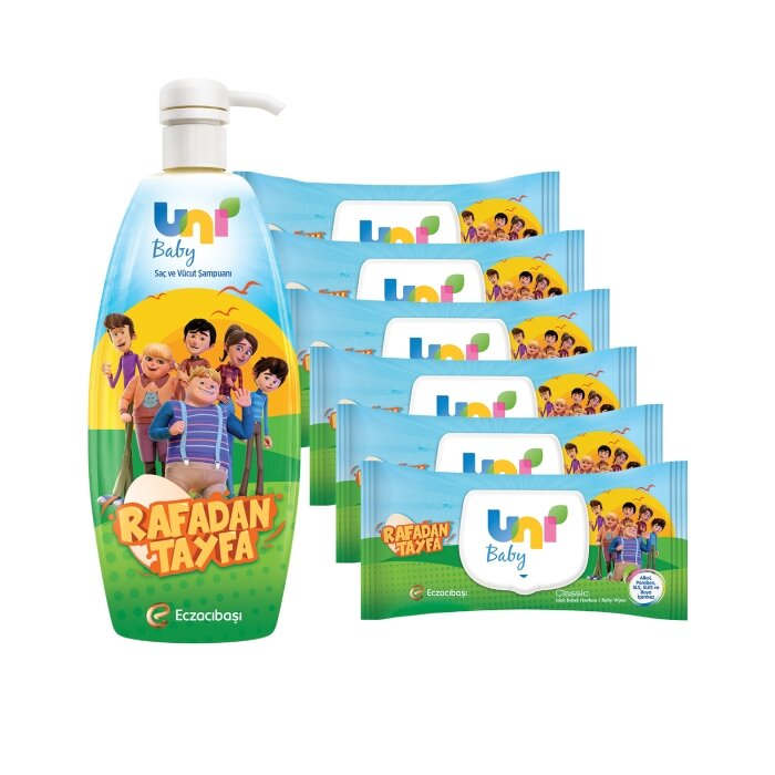 Uni Baby Rafadan Tayfa Mendil 336 Yaprak+ Şampuan Seti
