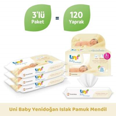 Uni Baby Yenidoğan Islak Pamuk Mendil 3'lü 120 Yaprak