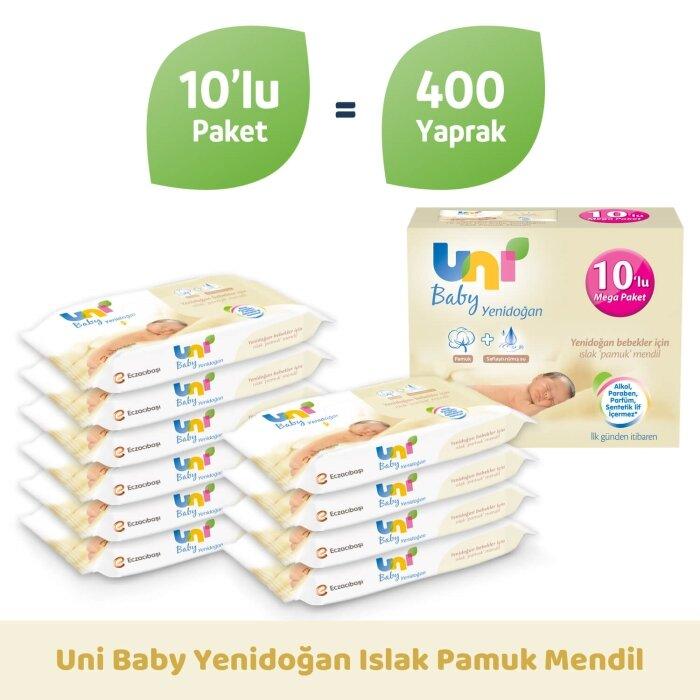 Uni Baby Yenidoğan Islak Pamuk Mendil 10'lu