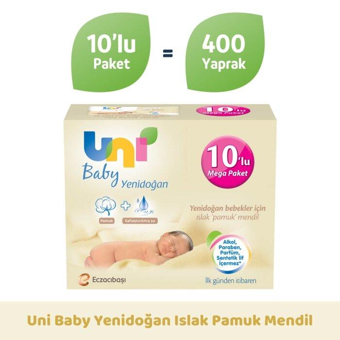 Uni Baby Yenidoğan Islak Pamuk Mendil 10'lu 400 Yaprak