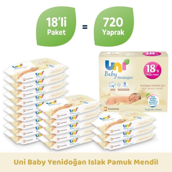 Uni Baby Yenidoğan Islak Mendil 18'li 720 Yaprak