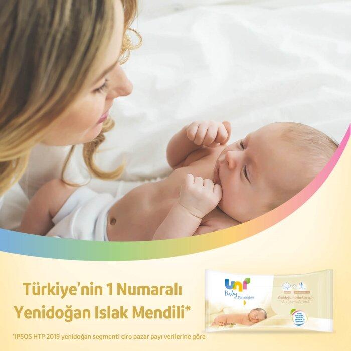 Uni Baby Yenidoğan Islak Pamuk Mendil 3'lü