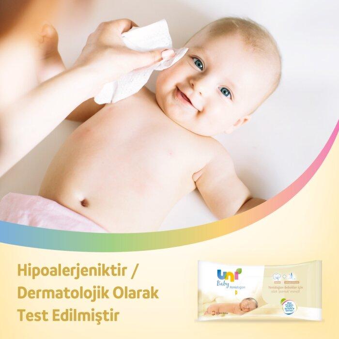 Uni Baby Yenidoğan Islak Pamuk Mendil 6'lı 240 Yaprak