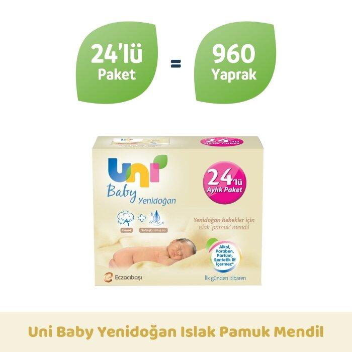 Uni Baby Yenidoğan Islak Mendil 24'lü 960 Yaprak