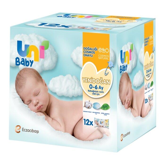Uni Baby Yenidoğan Islak Mendil 12'li 480 Yaprak