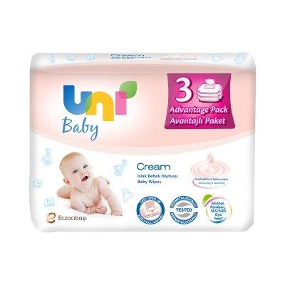 Uni Baby Cream Islak Havlu 3'lü