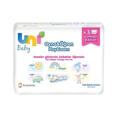 Uni Baby Oyna&Öğren Islak Havlu 3'lü