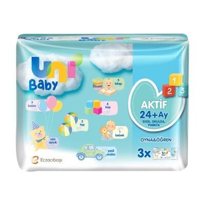 Uni Baby Aktif Oyna Öğren 3'lü 156 Yaprak Islak Mendil